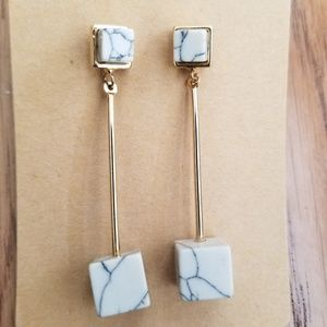 Anthropologie Formation Synthetic Marble Earrings